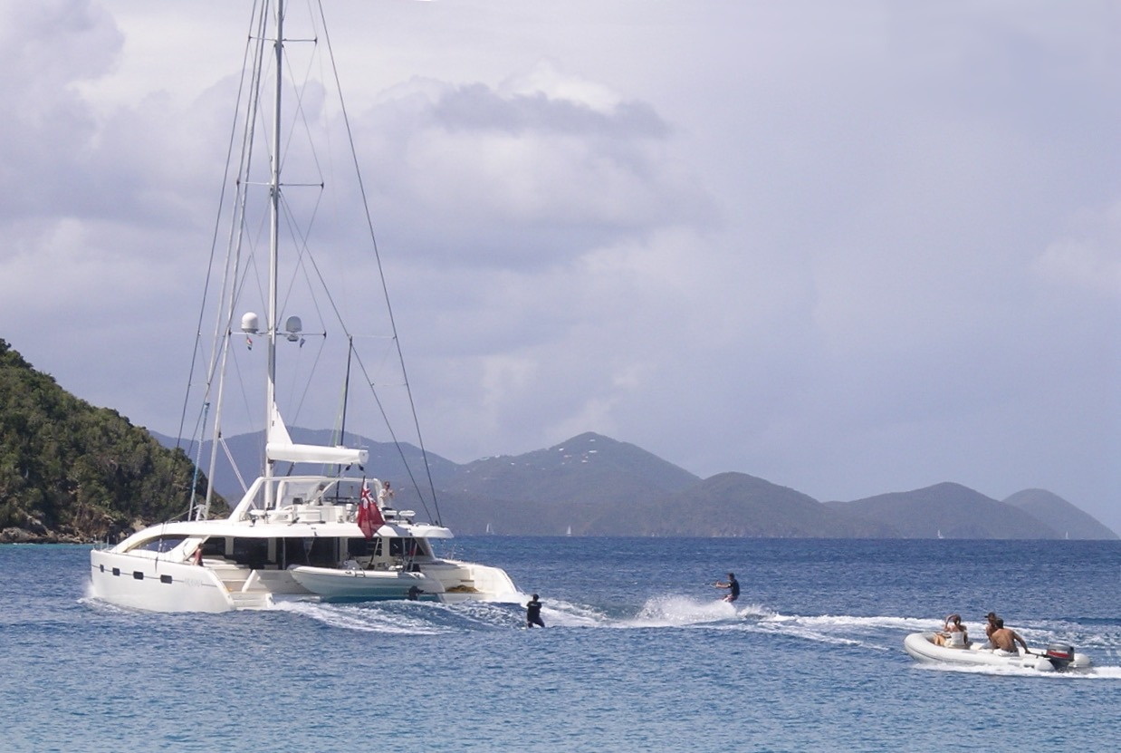 Waterskiing behind a Matrix Silhouette catamaran