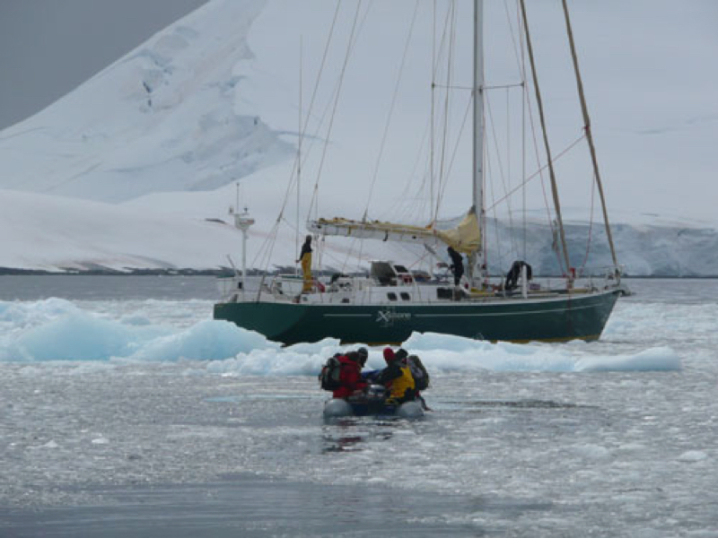 explore boat with auto prop in ice